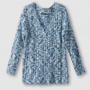 Пуловер из меланжевого трикотажа с V-образным вырезом, PRIYA SCHOOL RAG. Цвет: синий меланж
