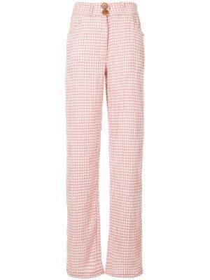 Клетчатые брюки N Duo. Цвет: розовый и фиолетовый