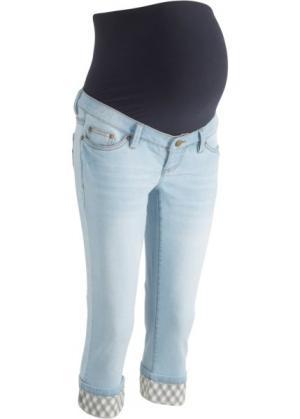 Джинсы-капри для беременных, с клетчатыми отворотами (нежно-голубой) bonprix. Цвет: нежно-голубой