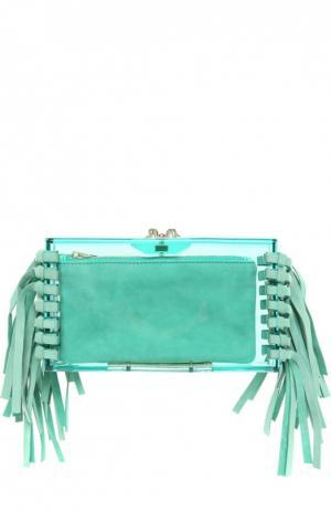 Клатч Fringe Pandora с замшевой бахромой и косметичкой Charlotte Olympia. Цвет: зеленый