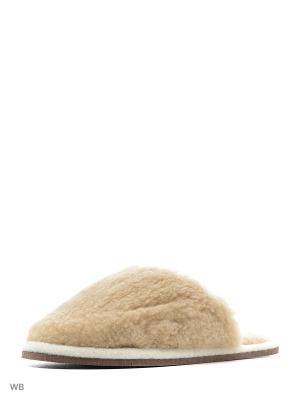 Тапочки мужские из натуральной шерсти ИП Тарнавский С.И.. Цвет: бежевый