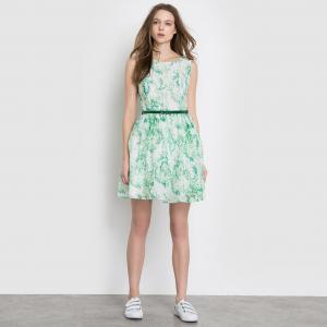 Платье с короткими рукавами MOLLY BRACKEN. Цвет: белый/зеленый
