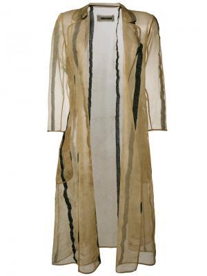 Полосатое пальто Uma Wang. Цвет: телесный