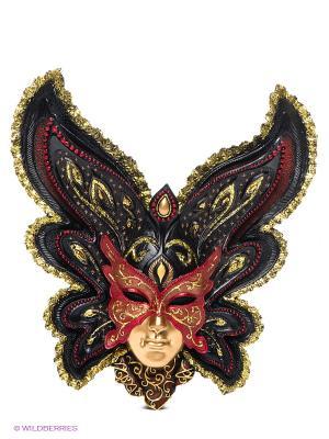 Венецианская маска Бабочка Veronese. Цвет: черный, золотистый, красный