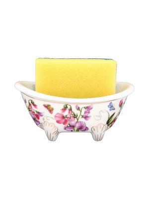 Подставка для губки Душистый цветок Elan Gallery. Цвет: белый, зеленый, сиреневый, розовый