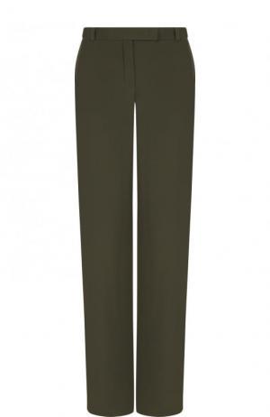 Однотонные расклешенные брюки из шелка Loro Piana. Цвет: хаки