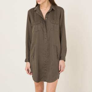 Платье-рубашка из тенсела THE KOOPLES SPORT. Цвет: хаки