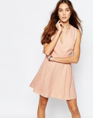 Jack Wills Платье с запахом и однотонным цветочным принтом. Цвет: розовый