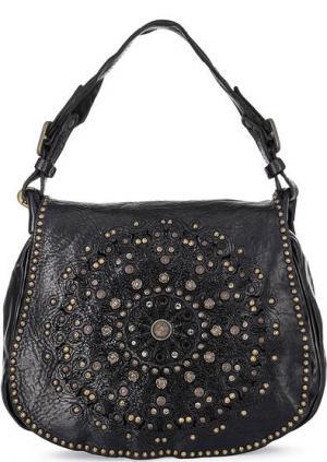 Кожаная сумка через плечо Campomaggi. Цвет: черный