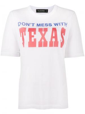 Состаренная футболка с принтом Texas Filles A Papa. Цвет: белый