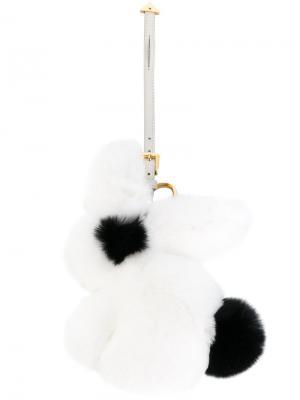 Пушистый брелок для ключей Prada. Цвет: белый