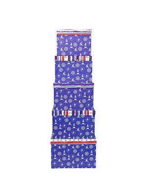 Коробка картонная, набор из 5шт. 22х22х16 - 30х30х20 см. Морская тематика. VELD-CO. Цвет: синий, белый, красный