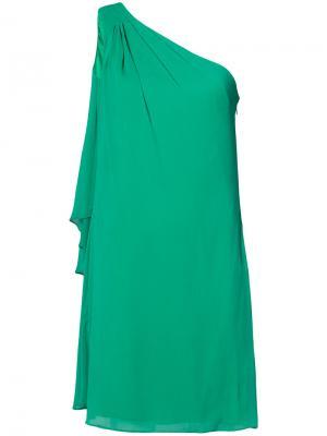 Платье с драпировкой без рукавов Badgley Mischka. Цвет: зелёный