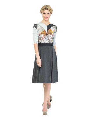 Платье KEY FASHION. Цвет: темно-серый, коричневый