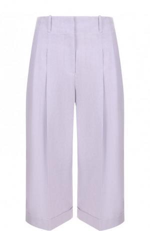Укороченные брюки из смеси льна и хлопка со стрелками Michael Kors Collection. Цвет: сиреневый
