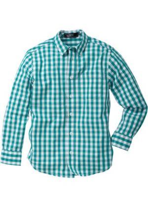 Рубашка в клетку (темно-изумрудный/белый клетку) bonprix. Цвет: темно-изумрудный/белый в клетку