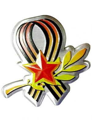 Наклейка 3D Гвардейская лента со звездой патриот WIIIX. Цвет: черный, оранжевый