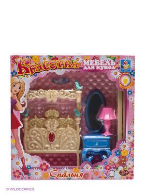 Набор мебели для кукол Спальня с подсветкой 1Toy. Цвет: розовый