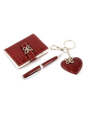 Подарочный набор: ручка, визитница, брелок 15*13*3см Русские подарки. Цвет: красный