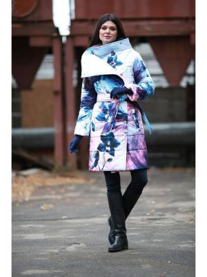 Пальто ДушеГрея. Цвет: бледно-розовый, синий