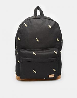 Spiral Рюкзак с принтом птиц. Цвет: черный