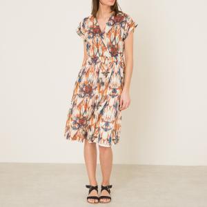 Платье с рисунком POMANDERE. Цвет: рисунок/экрю