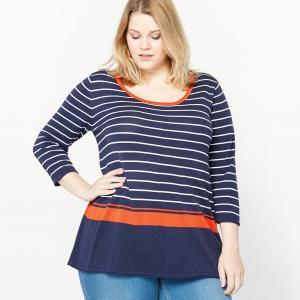 Пуловер с круглым вырезом CASTALUNA. Цвет: бледно-розовый,в полоску,небесно-голубой,оранжево-красный