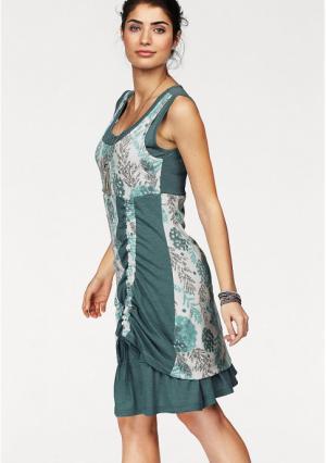Платье BOYSENS BOYSEN'S. Цвет: мятный с рисунком, ягодный с рисунком