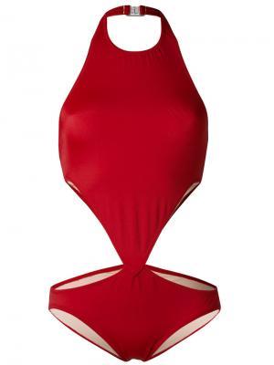 Слитный купальник с вырезными деталями Norma Kamali. Цвет: красный