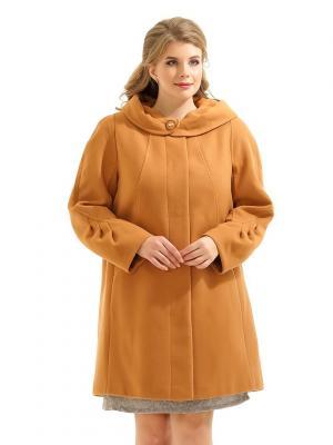 Пальто LikModa. Цвет: горчичный