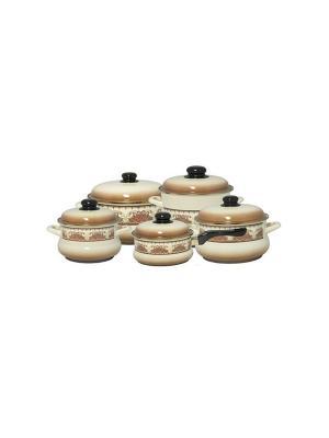 Набор посуды 7 предметов (2,0л, 3,5л, 5,5л + ковш 1,5л в подарок), мет.крышки METROT. Цвет: бежевый