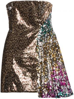 Асимметричное платье с пайетками Halpern. Цвет: коричневый