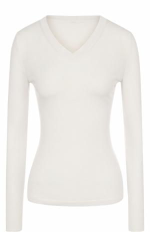 Облегающий шерстяной пуловер с V-образным вырезом Alaia. Цвет: белый