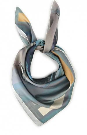 Шелковый платок с принтом chroma [rohka]. Цвет: синий