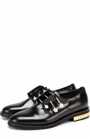 Кожаные ботинки с декорированными булавками Coliac. Цвет: черный
