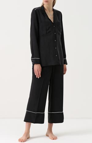 Шелковая пижама с укороченными брюками Equipment. Цвет: черный