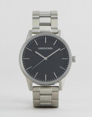 UNKNOWN Серебристые наручные часы с черным циферблатом. Цвет: серебряный