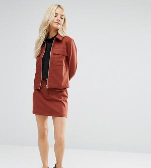Fashion Union Petite Комбинируемая мини‑юбка с карманами. Цвет: коричневый
