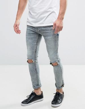 Brave Soul Выбеленные джинсы скинни. Цвет: синий