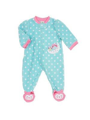 Комбинезон для сна флисовый Совята Little Me. Цвет: голубой