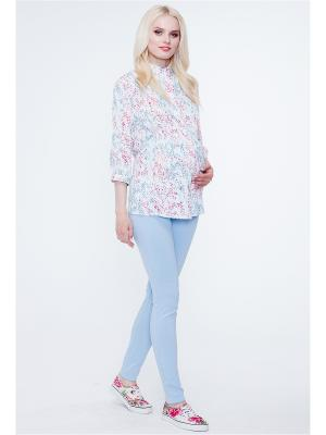 Блузка TUTTA MAMA. Цвет: белый, бирюзовый, розовый