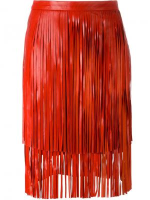 Кожаная юбка с бахромой Drome. Цвет: красный