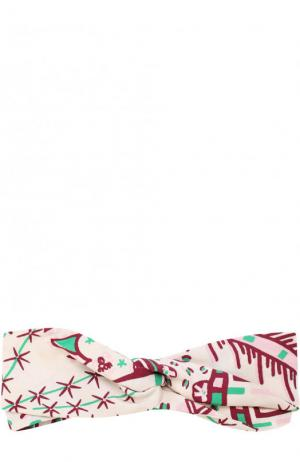 Шелковая повязка на голову с принтом Valentino. Цвет: кремовый