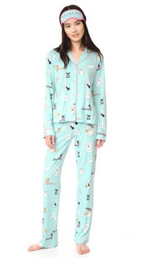 Пижама с игривыми принтами PJ Salvage. Цвет: розовый