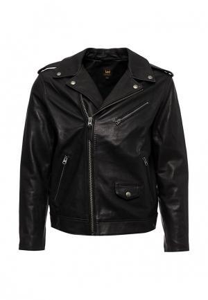 Куртка кожаная Lee. Цвет: черный
