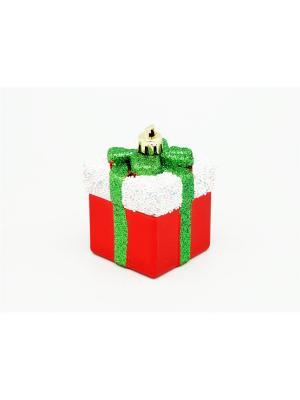 Украшение подвесное из пластика подарок красный с белым, 4 шт. арт.16012  (ДШВ 0,06Х0,2Х0,05 м.) Яркий Праздник. Цвет: красный