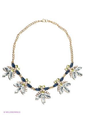 Колье Milana Style. Цвет: синий, прозрачный, золотистый