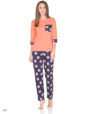 Комплект домашней одежды(кофта, брюки) HomeLike. Цвет: коралловый, темно-синий