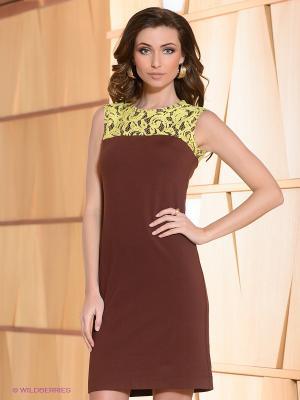 Платье Satin. Цвет: коричневый, желтый