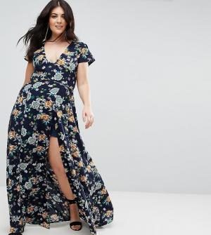 Uttam Boutique Plus Платье макси с запахом и цветочным принтом. Цвет: темно-синий